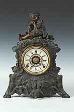 SPELTER FIGURAL MANTLE CLOCK, Late 19th/Early 20th Century. - 16 1/4