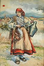 ENRIQUE MARIN SEVILLA (Spanish, 1876-1940). YOUNG WOMAN WITH CHICKEN AND JUG, signed and dated 1918 lower right. Watercolor.