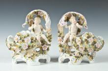 PAIR OF SAXE PORCELAIN FIGURAL CENTERPIECES, German, Late 19th/Early 20th Century. Marked underglaze with Saxe & Crown. - 7 1/4