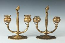 PAIR OF TIFFANY STUDIOS TWO LIGHT CANDLELABRA #1230, Early 20th Century, Marked Tiffany Studios, New York 1230. - 9 3/8