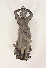 COPPER FRAGMENT FROM A FOUNTAIN IN THE FORM OF A FEMALE FIGURE, Late 19th Century. Unsigned. - Approximately 23