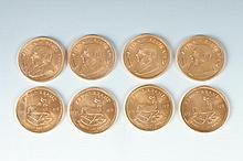 GROUP EIGHT SOUTH AFRICAN YELLOW GOLD KRUGERRANDS ,