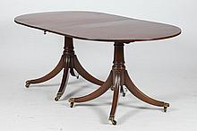 MAHOGANY GEORGE III-STYLE DOUBLE PEDESTAL BASE, OVAL TOP DINING TABLE.