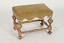 WILLIAM & MARY CARVED GILT-WOOD STOOL, Late 17th century. - App. H: 16 in. x W: 21 in. x D: 15 1/4 in.