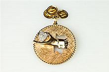 14K YELLOW GOLD AND DIAMOND PENDANT,