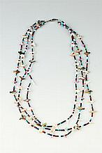 AMERICAN INDIAN TRIPLE-STRAND CARVED ABALONE SHELL AND HARDSTONE FETISH NECKLACE,