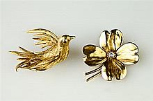 TWO YELLOW GOLD FIGURAL PINS,