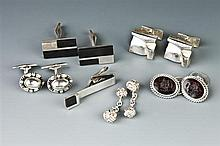 FIVE PAIRS STERLING SILVER CUFFLINKS.