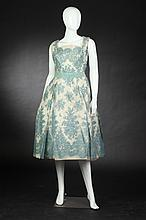 JULIUS GARFINCKEL & CO. LACE AND TAFFETA MINUET COCKTAIL DRESS, late 1950s-early 1960s; size 14,.