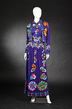 SAKS FIFTH AVENUE MOD MAXI DRESS AND JACKET, Circa 1970; size 14.
