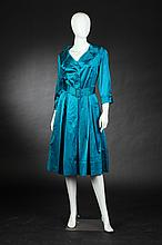 DYNASTY PEACOCK SILK COCKTAIL DRESS, 1960s; made for Julius Garfinckel & Co., size 14.
