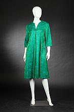 FIFTH AVENUE ROBES GREEN AND TURQUOISE SILK BROCADE HOUSECOAT, 1960s.