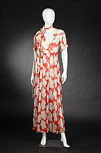 ORANGE AND CREAM FLORAL CHIFFON DRESS AND SCARF, 1980s.