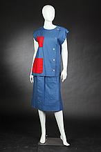BILL BLASS BLUE LINEN SKIRT AND TOP, 1980s; size 8; retailed Neiman Marcus.