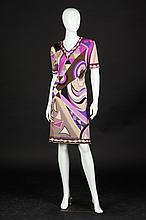 EMILIO PUCCI SILK DRESS, Circa 1960, size 14; signed in the fabric.