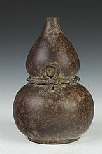 CHINESE YIXING DOUBLE GOURD VASE, Nine-character maker's mark. - 10 in. high.