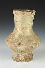 CHINESE GREEN GLAZED POTTERY HU, Han Dynasty. - 14 in. high.