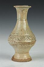 CHINESE CELADON POTTERY VASE, Song/Yuan Dynasty. - 7 in. high.