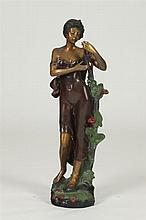 AFTER AUGUSTE MOREAU (French, 1834-1917). FLOWER GIRL, signed. Cold painted bronze.