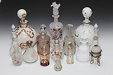 COLLECTION ENGLISH, CONTINENTAL AND AMERICAN GLASS SCENT AND OTHER BOTTLES. - 10 1/2 in. high, tallest.