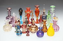 COLLECTION OF MURANO AND OTHER GLASS SCENT BOTTLES. - 6 3/4 in. high, tallest.
