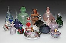 COLLECTION CONTEMPORARY ART GLASS SCENT BOTTLES. - 6 3/4 in. high, tallest.