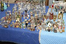 COLLECTION VINTAGE GLASS SCENT AND OTHER BOTTLES. - 9 1/2 in. high, tallest.