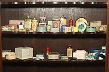 COLLECTION VINTAGE TALC, CREAM AND OTHER COSMETICS CONTAINERS. - 5 3/4 in. high, largest.