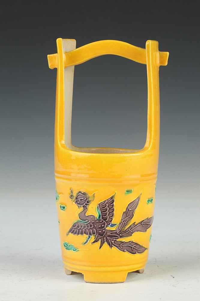 JAPANESE POLYCHROME PORCELAIN PHOENIX BUCKET. - 7 in. high.