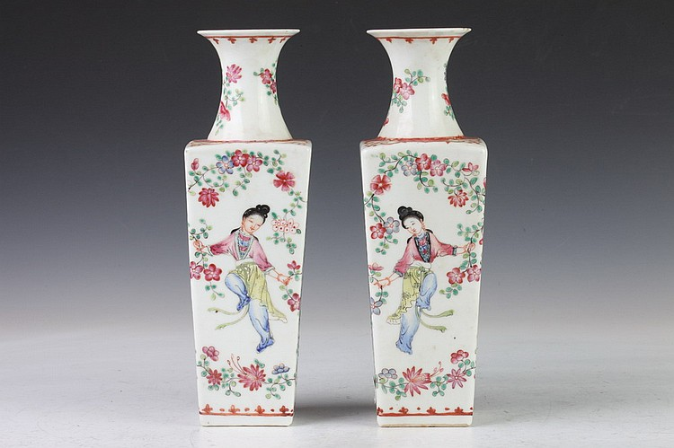PAIR CHINESE FAMILLE ROSE PORCELAIN VASES,