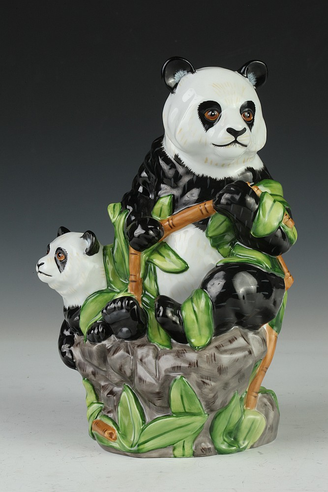 LYNN CHASE PORCELAIN FIGURAL GROUP PANDAS, - 9 3/4 in. high.