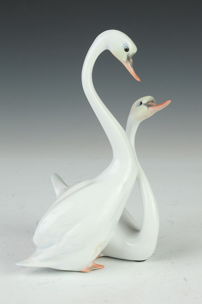 HEREND PORCELAIN FIGURE GROUP OF SWANS, - 7 3/4 in. high.