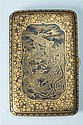 JAPANESE KOMAI GILT AND SILVER IRON DAMASCENE CIGARETTE CASE, Taisho period. - 5 1/2 in. x 3 5/8 in.