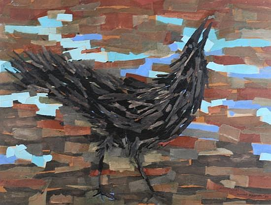 LEONARD MAURER (American, 1912-1976). CROW, signed and dated '60 lower right; also signed, dated and titled on verso. Mixed media on bo