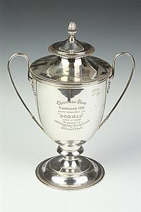 VICTORIAN SILVER PLATED TROPHY. James Crichton & Co., 47 George St., Edinburgh. - 13 1/2 in. high.