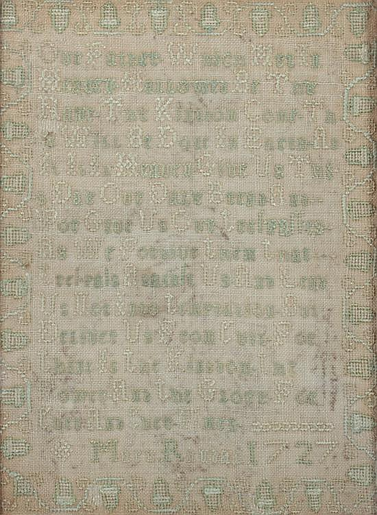 SCHOOLGIRL NEEDLEWORK SAMPLER, Worked by Mary Randal, 1727. - 8 in. x 6 in., sight size.