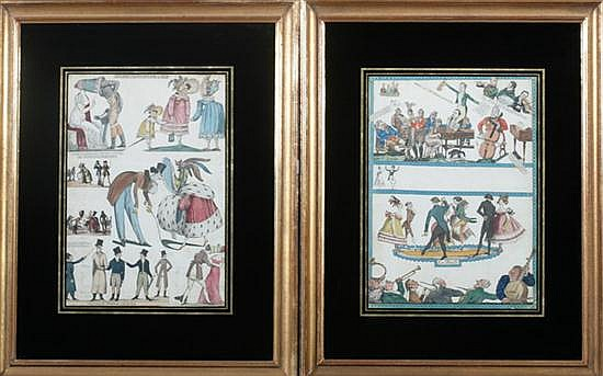TWO PAPER CUT-OUTS OF ENGLISH AND FRENCH CARICATURES, 19th century. - 17 1/4 in. x 12 3/4 in., sight size.