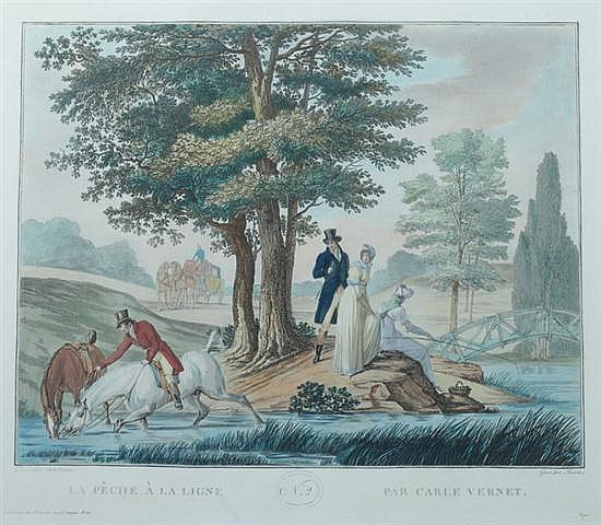 AFTER CARLE VERNET (French, 1758-1836). La Chasse: Four Works, Color engravings by Levachez. Including
