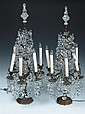 PAIR LOUIS XIV-STYLE BRONZE AND CRYSTAL SIX-LIGHT GIRANDOLES. late 19th century. - 32 1/2 in. high.