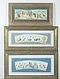 ANONYMOUS (Persian, 20th century). TRIBAL LIFE, Six ink and color on faux ivory in khatam frames.