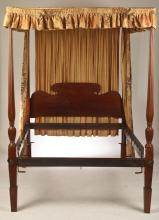 AMERICAN FEDERAL CARVED MAHOGANY DOUBLE SIZED TESTER BED.
