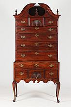 AMERICAN QUEEN ANNE CHERRYWOOD BONNET-TOP HIGHBOY, New England. - 83 1/4 in. x 41 in. x 22 1/4 in.