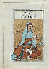 ANONYMOUS (Persian, 19th Century). UNTITLED, Nine leaves of illuminated and illustrated miniature gouache on paper.