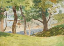 CHARLES FRANCIS BROWNE (American, 1859-1920). UNDER THE TREES AT CUSHING ISLAND , PORTLAND HARBOR, MAINE, signed and dated 1895 lower l