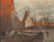 ALEXANDER CHARLES ROBINSON (American, 1867-1952). AFTERNOON IN HARBOR, VALENDAM, signed lower right and titled verso. Gouache on paper