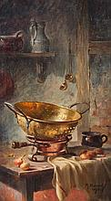 MAURICE LOUIS MONNOT (French, 1869-1937). KITCHEN STILL LIFE: PAIR, each signed and dated 1918 lower right. Oil on canvas.