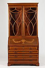 MARQUETRY-INLAID SECRETARY BOOKCASE, in the Adams taste. - 88 1/2 in. x 44 3/4 in. x 23 3/4 in.