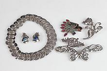 SEVEN PIECES MEXICAN STERLING SILVER JEWELRY, circa 1940, some pieces artist signed. - Necklace: app. 16 in. long.