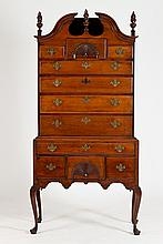 AMERICAN QUEEN ANNE MAPLE BONNET-TOP HIGHBOY, 18th century, in two parts. - 83 in. x 41 in. x 21 in.