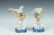 PAIR ROCK CRYSTAL, LAPIS LAZULI AND ORMOLU FIGURES OF BIRDS, 20th century. - 7 in. high.